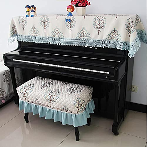 Electronic Piano Cover Upright Top Cover Fashionable Luxury Cute Elegant Piano Half Cover Chair Cover Thick Dustproof Cover (Blue,Single stool cover 57 37cm)