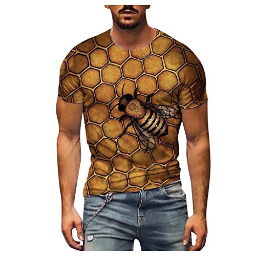Bienenfest 3D Vintage Biene Drucken Herren T-Shirt Echt Bienenwabe Oberteil Männer Crewneck Kurzarm Tops Freizeit Körper Formung Shirt Hemd Bluse Strandurlaub Hawaiihemd 3D Druck Bee T-Shirt