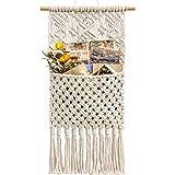 Mkono Macrame Wall Holder Magazine StorageOrganizer MailHolderWallMount Cotton Wovening Hanging Pocket Boho Home Decor Ivory, 13' W × 24.5' L