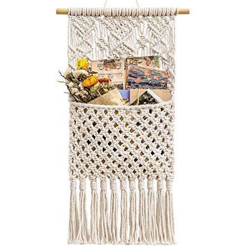 Mkono Macrame Wall Holder Magazine StorageOrganizer MailHolderWallMount Cotton Wovening Hanging Pocket Boho Home Decor Ivory, 13