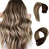 Clip in Extensions Human Hair 70grams 7pcs Ombre Chestnut Brown to Beige Blonde Highlight Remy Hair Extensions 15 Inch Silky Straight Fine Hair Pieces for Women