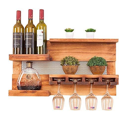 Estante para vino montado en la pared Estante para botellas de vino de pino para colgar en la pared con estante y soporte para copas de vidrio, barra para el hogar, accesorios de decoración de cocina