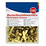 Musterklammern, goldfarbend, 100 Stück Länge: 19 mm Musterbeutelklammern