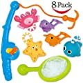 Bath Toy, Fishing Floating Squirts Toy and Water Scoop With Organizer Bag(8 Pack), Funcorn Toys Fish Net Game in Bathtub Bathroom Pool Bath Time for Kids Toddler Baby Boys Girls, Bath Tub Spoon
