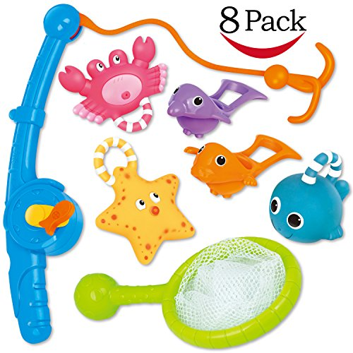 Bath Toy, Fishing Floating Squirts Toy and Water Scoop with Organizer Bag(8 Pack), KarberDark Fish Net Game in Bathtub Bathroom Pool Bath Time for Kids Toddler Baby Boys Girls, Bath Tub Spoon