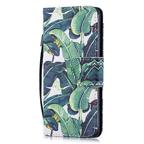 Funluna Hülle für Xiaomi Mi 8 Lite, Lederhülle Stoßfest Klapphülle Brieftasche, Trageschlaufe, Ständer, Kartenfächer, Magnetverschluss Handy Shell für Xiaomi Mi 8 Lite, Bananenblatt