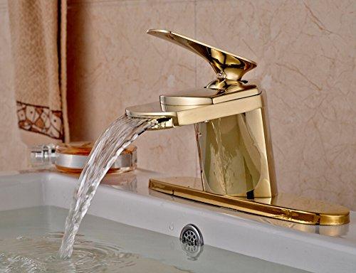 VanMe Robinet de lavabo Cascade en Laiton doré Moderne Le Robinet de Salle de Bain W/ (3 Trous) évier de vanité de Plaque