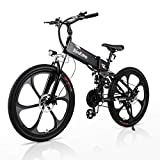 RINKMO Electric Bikes for Adults, 350W Folding Mountain Ebike with 10AH Removable Battery, Aluminum 26' Electric Bicycle Power Assist Bike with Dual Disc Brakes, Professional 21 Speed Gears (Black)