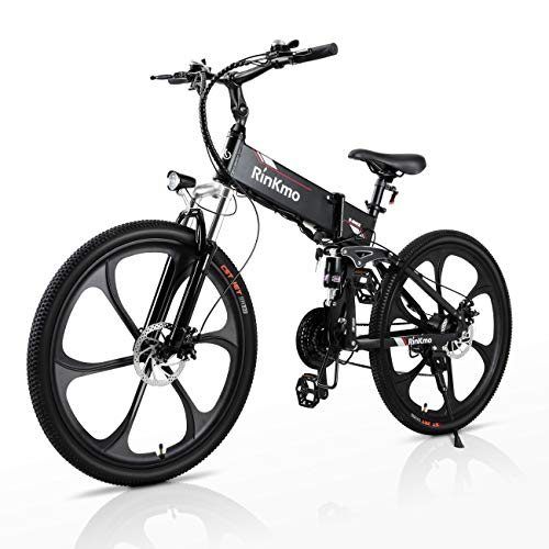 RINKMO Electric Bikes for Adults, 350W Folding Mountain Ebike with 10AH Removable Battery, Aluminum 26' Electric Bicycle Power Assist Bike with Dual Disc Brakes, Professional 21 Speed Gears