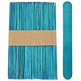 100 Sticks - Jumbo Wood Craft Popsicle Sticks 6 Inch (Blue)