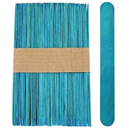 100 Sticks, Jumbo Wood Craft Popsicle Sticks 6 Inch (Blue)