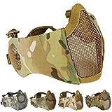 Aoutacc Máscara Plegable para Airsoft, Máscaras de Malla de Media Cara con Protección para los Oídos para Juegos de Guerra, Pistola BB, Caza, Paintball, CP