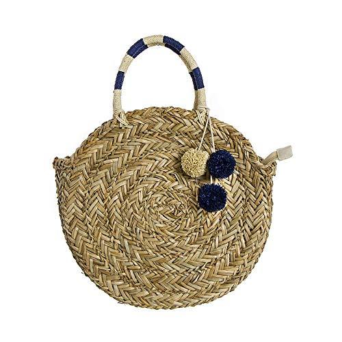 Round Palm Bag Navy Blue 39 cm