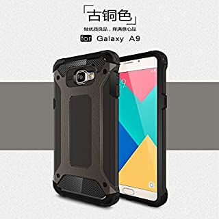 ZITEZHAI-protection Removable double tough style Shockproof PC+TPU Protective Hard Case for Samsung Galaxy A9 (Color : Bronze)