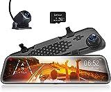 WOLFBOX 1296P HD 12 Pulgadas Dashcam Espejo retrovisor para automóvil, Delantero Trasero, Sensor Sony IMX415, visión Nocturna, Asistencia de estacionamiento, GPS