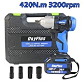 Wheel Wrench Electric Cordless with Battery 1/2 Inch Square Drive, 14mm 17mm 19mm