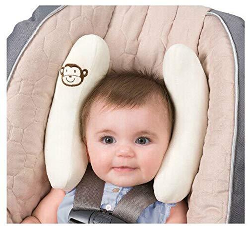 Nackenkissen Kinder Nackenstütze AFFE -Nackenkissen mit kleinem Rassel-Affen für Babys und Kleinkinder ab 6+ Monaten – Stützt in Kinderwagen, Babyschale oder Auto