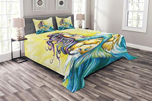 Ambesonne Mermaid Bedspread, Mermaid Sitting on Rock Sunny Day Colored Pencil Drawing Effect, Decorative Quilted 3 Piece Coverlet Set with 2 Pillow Shams, Queen Size, Purple Yellow