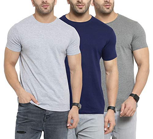 Scott International Men's Regular Fit T-Shirt (Pack of 3) (SS20-3RN-BU-GR-CH-L_Navy Blue &...