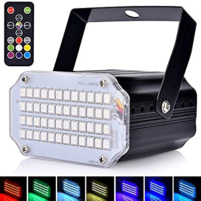 Mini Strobe Lights for Parties, Sound Activated and Speed Control LED Disco Lights, Super Bright 48 LEDs,Remote Control Flash Stage Lighting for Show, Party, Disco, Wedding, Christmas, Halloween