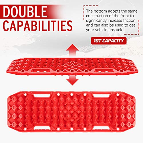 BUNKER INDUST Off-Road Traction Boards with Jack Lift Base, 1 Pair Recovery Tracks Traction Mat for 4X4 Jeep Mud, Sand, Snow Traction Ladder-Red Emergency Tire Traction Tool