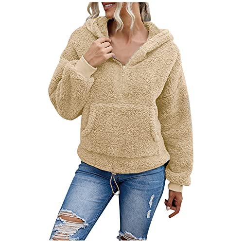NHNKB Sudadera gruesa de invierno de forro polar con capucha para mujer, con forro polar, con cremallera, caqui, L