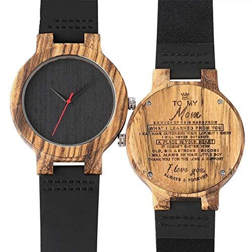 Reloj de madera con logotipo personalizado para mi mamá, relojes de madera, correa de cuero retro para mujer, reloj de pulsera de cuarzo, color de vapor (color: mamá)