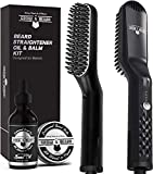 Beard Straightener for Men, Plus Beard Growth Oil & Beard Balm Conditioner, Heated Beard Brush, Men's Beard Straightening Comb, Ionic Straightener Kit, Beard Iron, Hot Combs Perfect Gifts for Him Dad
