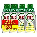 Fairy Platinum Gel detergente para lavavajillas, 128 ciclos (4 paquetes x 32), limón, formato maxi, 100% disolución, con sistema de prelavado integrado, eficaz en los ciclos ecológicos