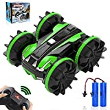 RC Car Amphibious Remote Control Car, 4WD Off Road RC Stunt Car Double Sided 360° Rotating Toys Car with 2 Batteries, 2.4 GHz RC Monster Car Land Water 2 in 1 Waterproof Remote Control Car, Green