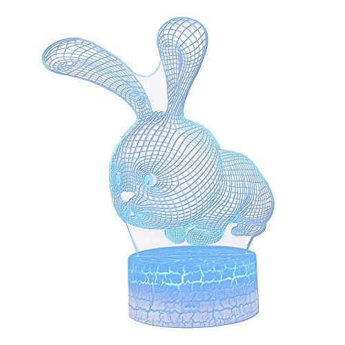 Ruidada Easter 3D touch Night Light Rabbit Night Light Colorful LED Night Light USB Light Gift - Home & Garden LED light
