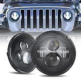 SUNPIE 7 inch Black LED Headlights Bulb for J eep Wrangler IP67 Waterproof Replacement Lights for 2007-2018 JK/JKU Rubicon,Sahara, Sport, 1997-2006 TJ, 2004-2006 LJ, 1976-1986 CJ-7, 1981-1985 CJ-8