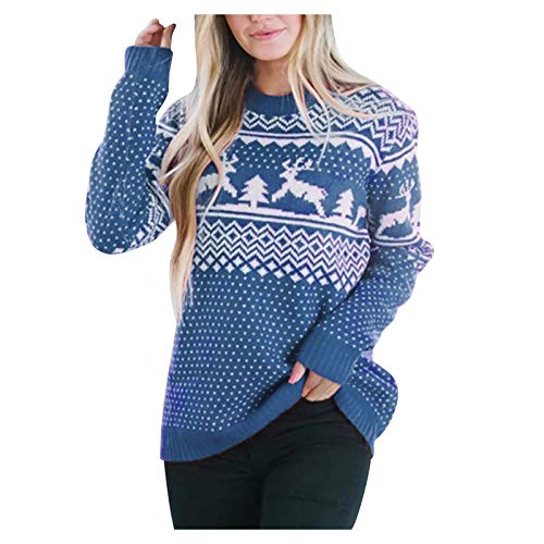 XUEbing Ugly Funny Christmas Sweaters for Women Pullover Reindeer Tree Snowflakes Patterns Pullover Tops Shirt Knit Sweaters Blue
