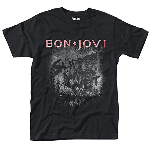 Bon Jovi Slippery When Wet Hombre Camiseta Negro M, 100% algodón, Regular