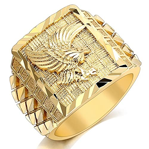 Vikingo Águila Anillo Dorado Águila Cabezas Anillo Masculino Punk Roca Hombres Anillo Oro Plata Señoras Águila Animal Anillo,Oro,10
