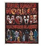 DesDirect Store Personalized Horror Movie Watching Scary Friday Zombie Custom Name Blanket Fleece White Fleece 50'x60'