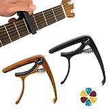 gotyou 2 Piezas Cejilla de guitarra, con 10 Piezas púas de guitarra, Cejilla para Guitarra Capo de Guitarra Acusticas y Electricas Pinza de una Mano para un Agarre Constante(Negro y Marrón)