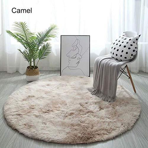 FICI Nordic decoratieve Tapijt Zachte Pluche Ronde Tapijt Mat voor Slaapkamer Woonkamer Deur Raam woondecoratie, Camel, 80x80 CM