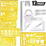 Swpeet 12Pcs Plastic Yellow Geometric Drawings Templates Kit, 6 Different Geometric Measuring Drawings Templates Stencils with 2Pcs Pencil and 5Pcs Measuring Ruler for Drawing Engineering Drafting