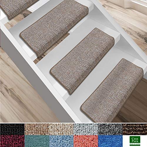 casa pura Alfombras Antideslizantes escaleras - Alfombrillas rectangulares para escaleras | Set 15pz | London | Seguridad y Confort | Aíslan Ruido | Distintos Colores (Beige, 25x65 cm)
