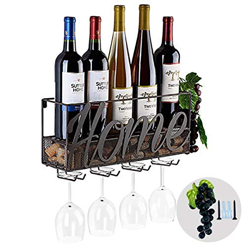 Tinyuet Porta Botella de Vino | Botellero | Caja de Vino de Pared | Porta Botella y Vaso | Decoraciones para el Hogar y la Cocina | - Home