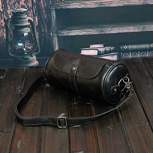 QSGNR Aktentasche Klassische Einfache Männer Umhängetasche Leder Crossbody Taschen Männer Eimer Reise Laptop Taschen Business Messenger Bags Retro 28X14X14 cm Schwarz