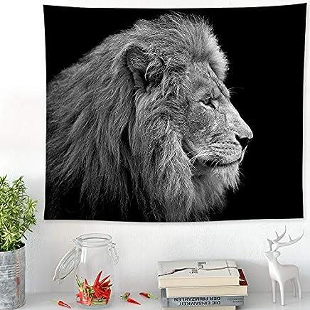 JTWJ 北欧黒と白のライオンのタペストリー寝室のベッドサイドハンギングキャビネット布ポーチぶら下げ絵画タペストリー装飾絵画テーブルクロス (Color : D-58.2X51.1in)