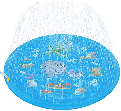"Tobeape Sprinkler for Kids, Sprinkle & Splash Pad Play Mat, Upgraded 68"" Inflatable Outdoor Water Toys Wading Swimming Pool for 1-12 Years Old Children Learning Toddler Girls Boys"