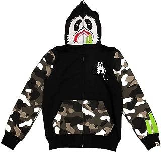 QYS Big Mouth Shark Ape Bape Camo Mens Women Hoodies Sweatershirt Casual Zip Up Hip-Hop Funny Tops,S