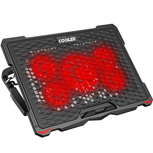 AICHESON Laptop Cooling Pad for 17.3' Notebook, Red 5 Fans