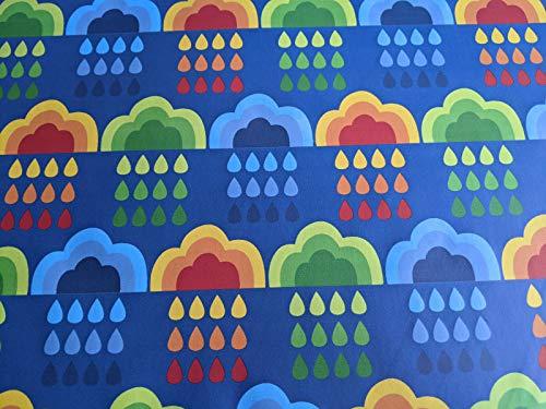 Regenjackenstoff als Meterware, leichte Qualität, wasserabweisend und elastisch, Regenbogen Blau, 50 cm