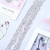 XINFANGXIU 1 Yard Rhinestone Wedding Dress Applique Sparkly for Bridal Ribbon Belt Iron on Jeweled Crystal Thin Sash Applique for Women Formal Prom Evening Bridesmaid Gown
