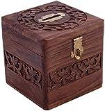Banque d'argent en bois, Carré Design Carving Work avec Lock Coin Box, tirelire, tirelire