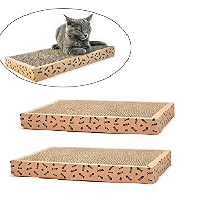 Old Tjikko Cat Scratch Pad,Scratcher with Catnip,Scratching Posts,Cat Toy Scratch Board Lounge with Bell-Ball (2 Pack)